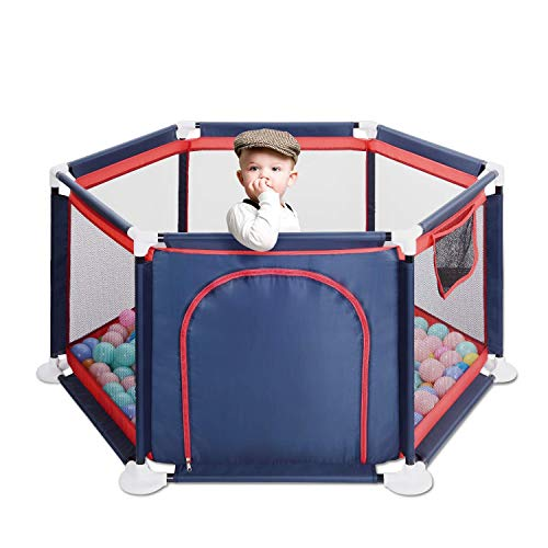GrowthPic Baby Playpen, Playard for Baby – Safety Play Pen for Infant and Baby, with Sturdy Bases, Anti-Skid Pads, Lightweight, Navy Blue, 6-Panel