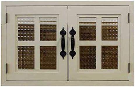 室内窓 採光窓 フランス製チェッカーガラス 木製 ひのき アンティークホワイト 53×6×34cm・厚み3cm マグネット仕様 両面桟・取っ手つき 北欧 受注製作