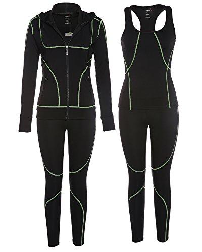 BELLEZIVA Women's 3 Pieces Outfit Set Top Tank Leggings Jacket (S-2XL)