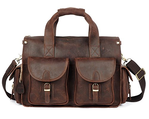 MUMUWU Men's Messenger Bag Leather Retro Crazy Horseskin Laptop Bag Top Layer Handbag (Color : Brass, Size : M) from MUMUWU