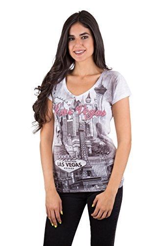 Sweet Gisele Las Vegas Strip Collage Grayscale V Neck Graphic Tunic Tee for Women - Las Jogging In Vegas