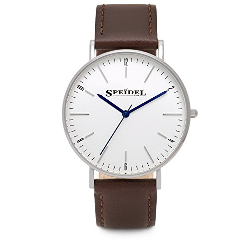 Speidel Men's Slim Watch with Simple Classic Pearl White Dial, Ultra Thin Stainless Steel Case, 3 Hand Quartz Movement, Genuine Brown Leather Band and Water Resistant to 99ft by Speidel (Image #3)'