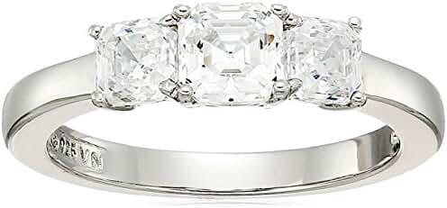 Platinum Plated Sterling Silver Swarovski Zirconia Asscher Cut 3-Stone Ring, 1 cttw
