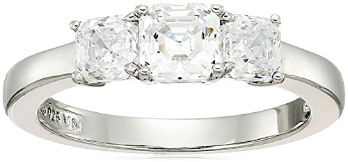 Platinum-Plated Sterling Silver Asscher-Cut 3-Stone Ring made with Swarovski Zirconia (1 cttw), Size 8