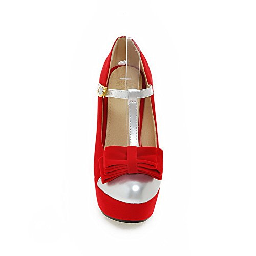 AllhqFashion Damen Rund Zehe Schnalle Blend-Materialien Hoher Absatz Pumps Schuhe Rot