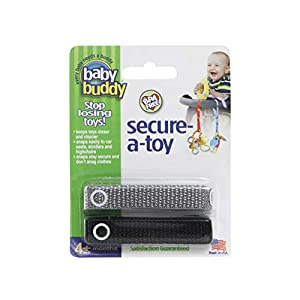 Baby Buddy Secure-A-Toy, Safety Strap Secures Toys, Teether, or Pacifier to Stroller, Highchair, Car Seat, Black-Gray