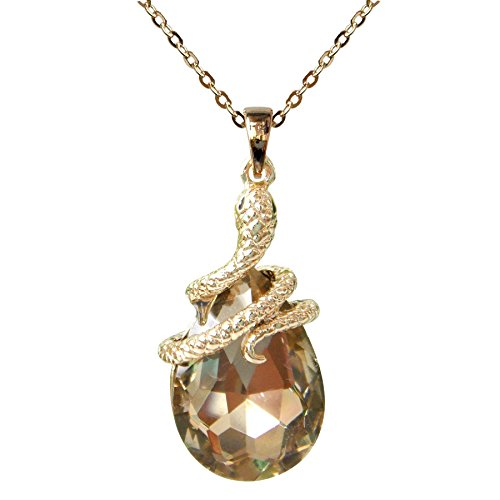Brown Snake Pendant (Navachi 18k Gold Plated Water Drop Crystal Brown Zircon Snake Az6002p Snake Pendant Necklace 16
