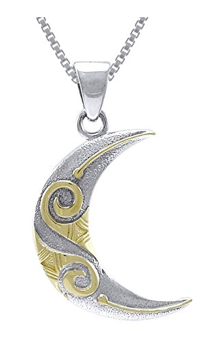 Goddess 14k Necklace (Jewelry Trends Sterling Silver and Gold-plated Celtic Spiral Crescent Moon Pendant on 18 Inch Necklace)