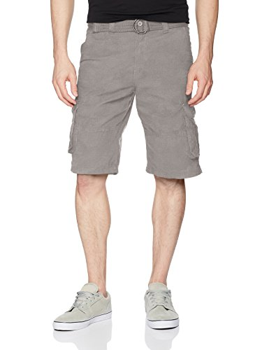 Southpole Men's All- All-Season Belted Ripstop Basic Cargo Short, Light Grey/New, ()