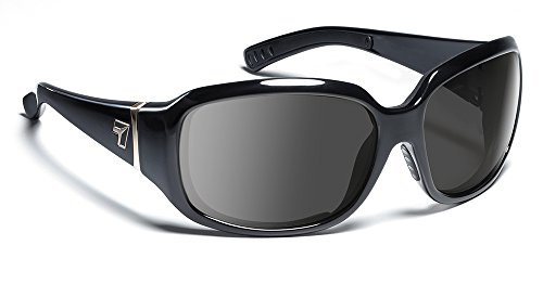 7eye Women's Mistral Resin Sunglasses,Glossy Black Frame/Re-ACT NXT Gray Lens,one size
