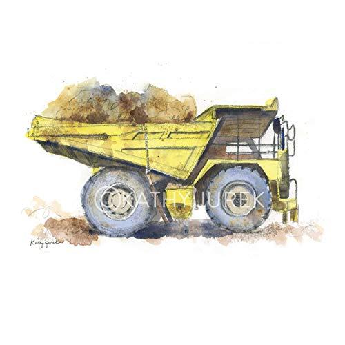 Nursery Wall Decor | Yellow Construction Truck, Dump Vehicle Wall Art Print for Kids Room | 8.5 x 11 Inch Gallery Quality Fine Art Giclée Print