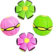 Geco 2Pcs Magic UFO Ball with Lights Flying Toys, Outdoor Interactive Deformation Saucer Ball Frisbee Vent Bal