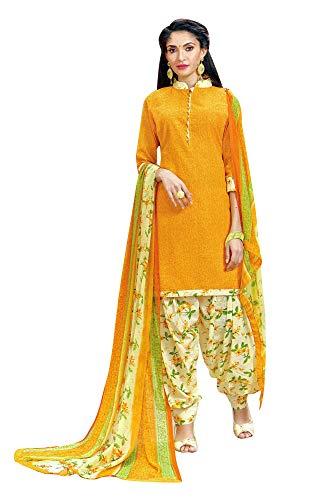 Ladyline Womens Cotton Salwar Kameez Printed Patiala Salwar & Chiffon Dupatta