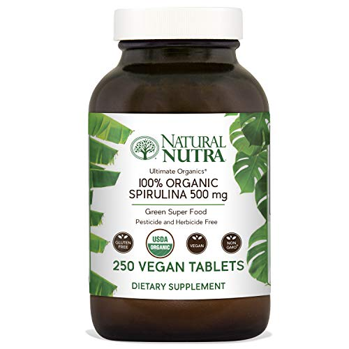 Natural Nutra 100% USDA Organic Spirulina Tablets, Blue Green Algae Protein Pills with Rich Minerals, Vitamins, Chlorophyll, Amino Acids, Carotenoids, Antioxidants and EFAs, 3000 mg, 250 Vegan Tablets (Caps Amino 2222)
