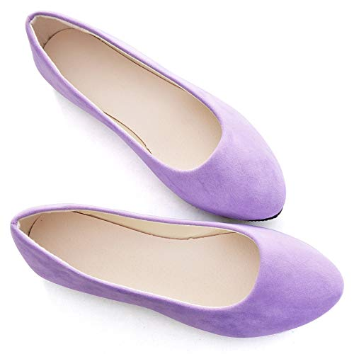 (Stunner Women Cute Slip-On Ballet Shoes Soft Solid Classic Pointed Toe Flats by Light Purple 43)