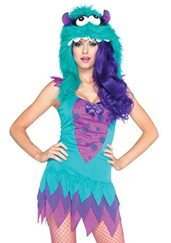 Monster Costumes Women (Leg Avenue Women's 2 Piece Fuzzy Frankie Monster Costume, Teal/Purple, Medium/Large)