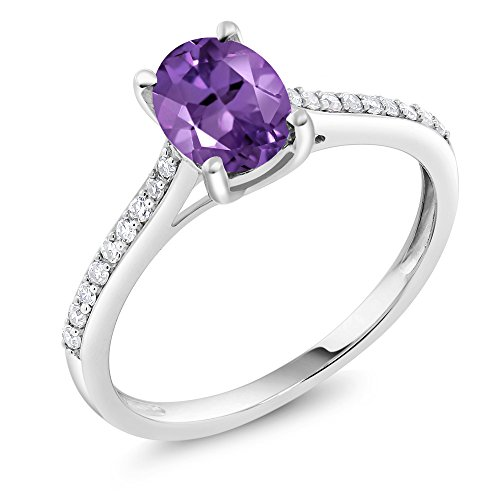 Gem Stone King 10K White Gold Pave Diamond Engagement Solitaire Ring set with 8x6mm Oval Purple Amethyst 1.10 ct (Size 9)