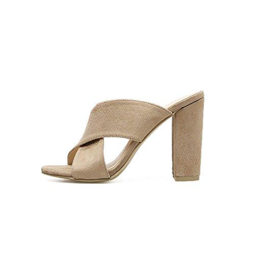 Good-memories Summer Women Beach Sandals Women High Heels Sandals Shoes Woman Black Nude Heel 10cm,Apricot,7.5