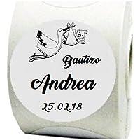 100 Etiquetas adhesivas Cigüeña 4 cm para bautizos