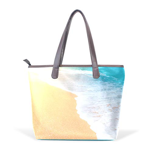 Leather Tote Bag for Fashion Ladies Large Handbag Briefcase Laptop Tote Bag Sea Waves Sand FoamM(40x29x9) cm
