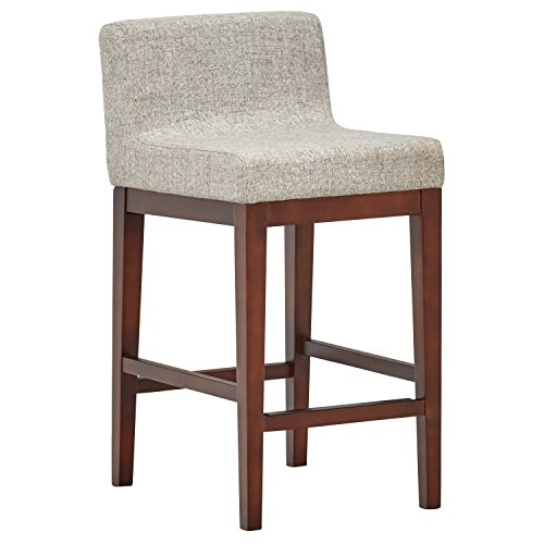 Rivet Mid-Century Low-Back Counter Stool, 33.5 H, Light Grey