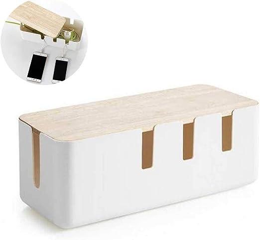 Volwco Caja Organizadora Cables Grande y Blanca, Caja para Cables ...