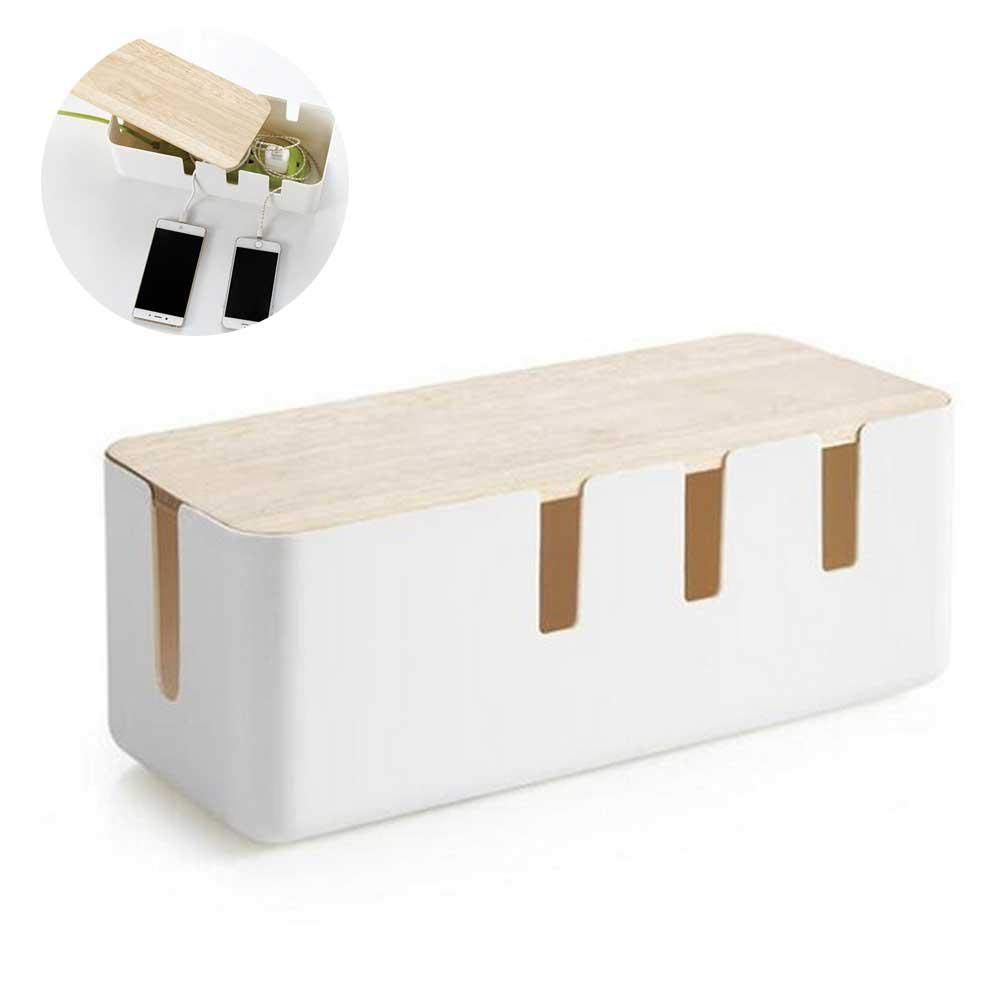 lesgos Bamboo Cable Management Box, Stylish Wooden Cord Organizer Box Hides Power Strip & Keeps Cords Untangled, Surge Protector Cover for Entertainment Center, Home Office, Computers, PC, Large Size