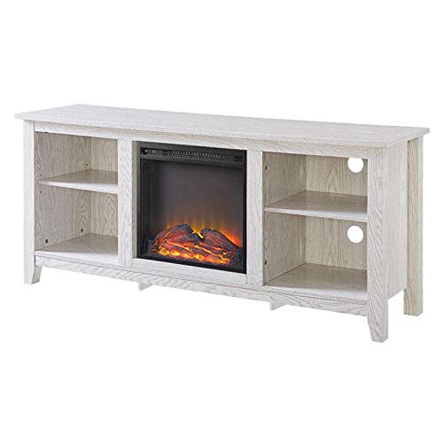 Cheap Whitewash 58-inch TV Stand Electric Fireplace Space Heater Black Friday & Cyber Monday 2019
