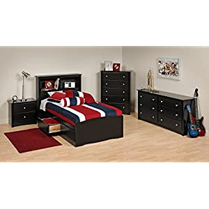 Prepac Black Sonoma Twin Bedroom Set