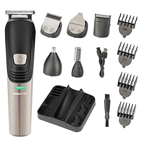 ROZIA 6 in 1 clipper Beard Trimmer Cordless Mustache Trimmer Hair Trimmer Nose Trimmer Professional Grooming Kit Waterproof USB Rechargeable
