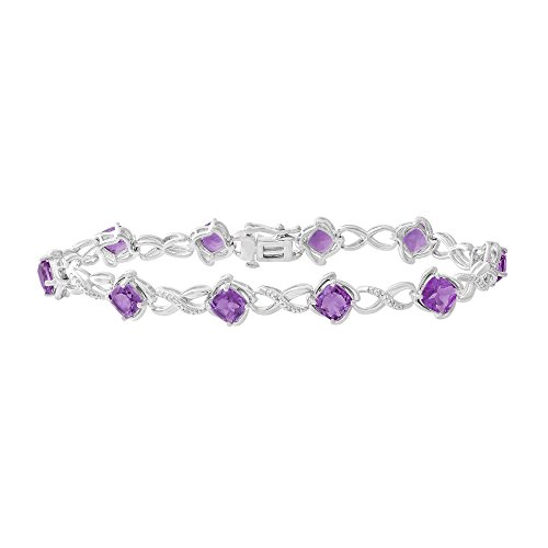 11 CT Amethyst & Diamond Accented Kiss and Hugs Bracelet Set in Sterling Silver 7.5