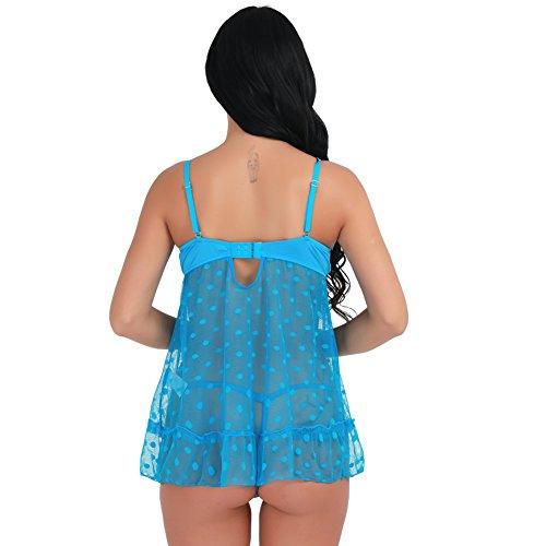 iEFiEL Camisón Pijamas Picardías + Tangas Conjunto de Lencería para Mujer Vestido Ropa de Noche Tiras Ajustables Azul