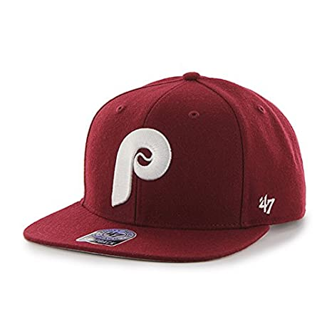 1b070abb8ff Image Unavailable. Image not available for. Color  Philadelphia Phillies  MLB Cooperstown Cardinal Sure Shot 47 Brand Flat Bill Snapback Hat