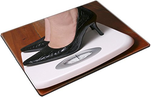 MSD Place Mat Non-Slip Natural Rubber Desk Pads Design: 9304694 Lady Wearing Black stilletoes on Bathroom Scale