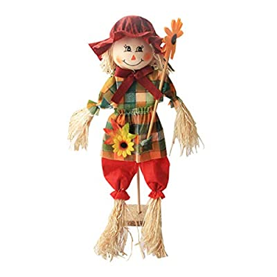 AIPINQI Scarecrow Fall Decor, 2 Pack Small Standing with Flower Fall Harvest Scarecrow Decor Halloween Scarecrow Decorations for Garden, Home, School, Yard, Porch, Thanksgiving Decor: Home & Kitchen