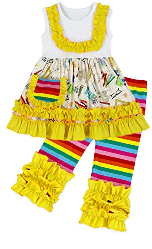 Toddler Little Girls Back to School Yellow Rainbow Crayon Book Ruffles Capri Set 5