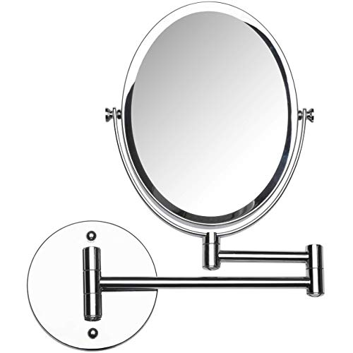 Mirrorvana Oval Wall Mount Bathroom Shaving Mirror, Double Sided 5x/1x Magnified, 13-Inch Extension Swivel, 6.6