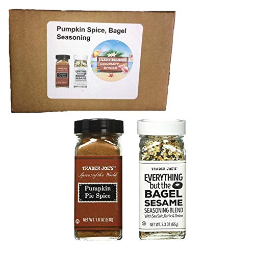 Trader Joe's Pumpkin Pie Spice Seasoning Blend Mix (Spices of the World) 1.8 oz Jar, Trader Joe's Everything but the Bagel Sesame Seasoning Blend 2.3 Oz Bundle of 1 Jar each, Great for Gift Giving or (Bread Mix In A Jar For Gift Giving)