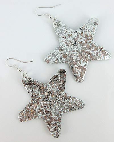 (Silver Glitter Faux Leather Large Star Dangle Earrings)