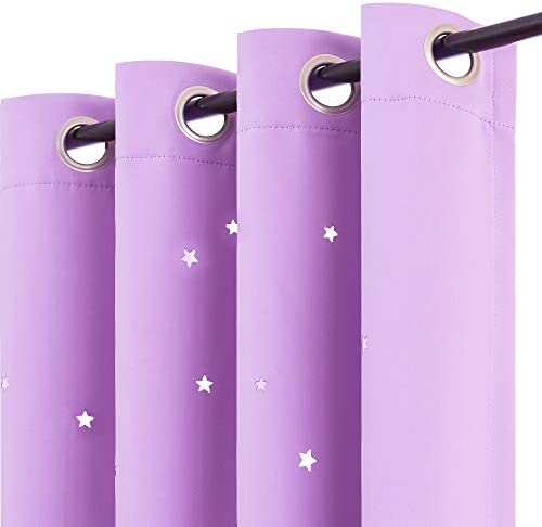 Nursery Blackout Curtains Kids Room Darkenings for Bedroom 84 inches Long Twinkle Star Star Cutout Lilac Draperies for Living Room Grommet Top Thermal Insulated Window Treatment Set 2 Panels