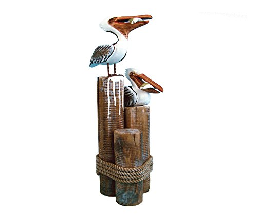 Puzzled Nautical Indoor Decoration Pelican Couple Eating Fish Handpainted Statue made of Wood Features Rustic Finish and a Real Rope Tied Around Pier Post 6.5 x 7 x 20.5 inches Coastal Animal Figure