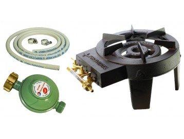 Hornillo de gas hierro fundido f0003r Providus con 4 patas y 3 grifos de ajuste (