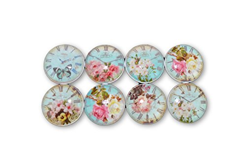 - Set of 8 Blue Shabby Floral Clock Face Wood Cabinet Knobs