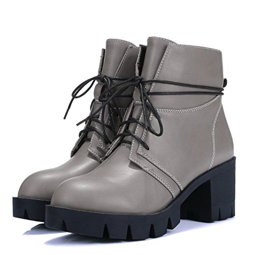 up Lace Soft Heels Boots Toe Women's Solid Closed Kitten Allhqfashion Round Material Gray 0vazwx