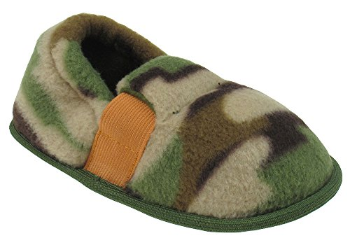 Capelli New York Toddler Boy's Camo Fleece Moccasin Slippers Natural Combo Small - Toddler White Combo Footwear