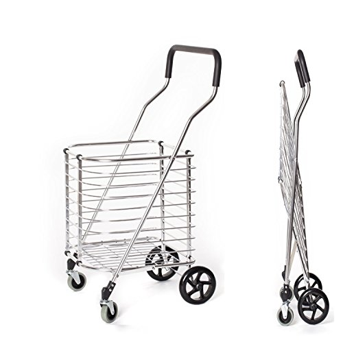 e290543e055b Portable Folding Shopping Cart 120 lb Capacity, Grocery Shopping Made Easy  Utility Cart Trolley, Aluminum Alloy Steel