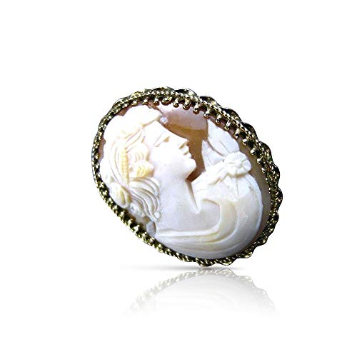 (Milano Jewelers Large 14KT Yellow Hand Carved Lady Shell Cameo Pendant & Brooch #22104)