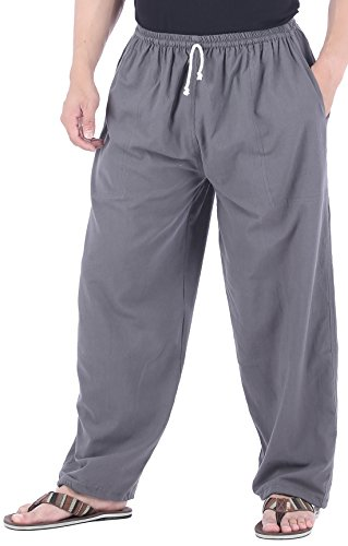 CandyHusky Mens Cotton Loose Joggers Casual Lounge Pajama Gym Workout Yoga Pants (Grey)