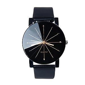 Relojes de Mujer, KanLin1986 Relojes de pulsera mujer banda de cuero relojes de acero inoxidable para mujeres-Negro 41 cyI09klL