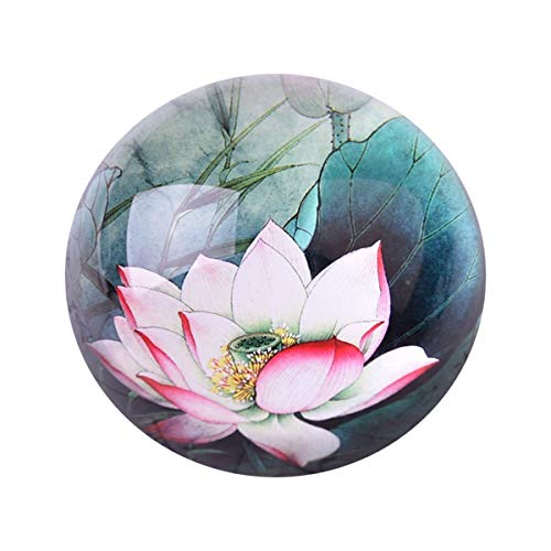 Delicate Pink Lotus Crystal Hemisphere Paperweight Craft Small Ornaments